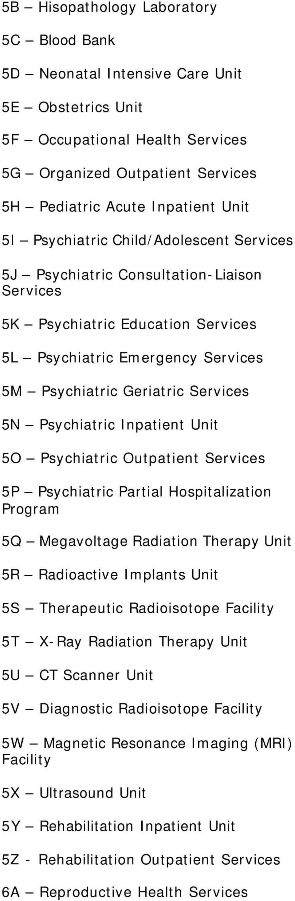 Psychiatric Outpatient 5P Psychiatric Partial Hospitalization Program 5Q Megavoltage Radiation Therapy Unit 5R Radioactive Implants Unit 5S Therapeutic Radioisotope 5T X-Ray Radiation