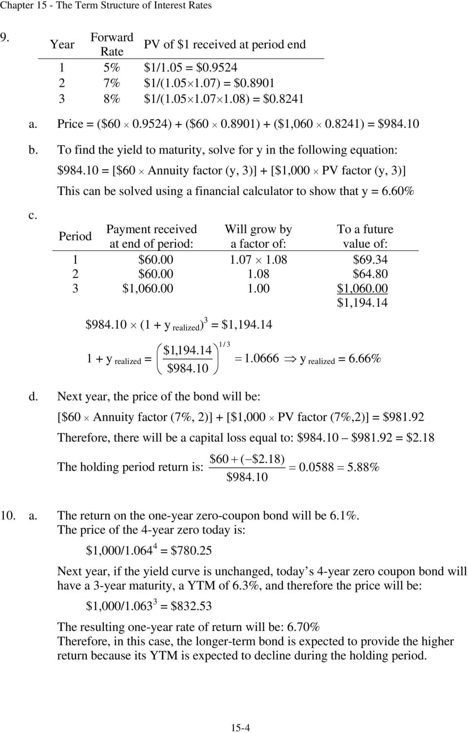 0 = [$60 Annuity factor (y, )] [$,000 PV factor (y, )] This can be solved using a financial calculator to show that y = 6.60% c.