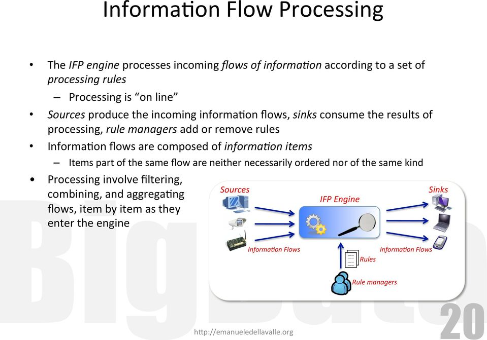 of the same flow are neither necessarily ordered nor of the same kind Processing involve filtering, combining, and aggregaeng flows, item by item as they enter the