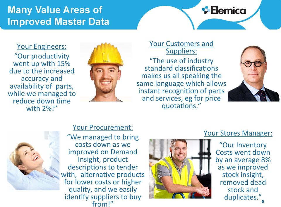 Your Customers and Suppliers: The use of industry standard classifica6ons makes us all speaking the same language which allows instant recogni6on of parts and services, eg for price