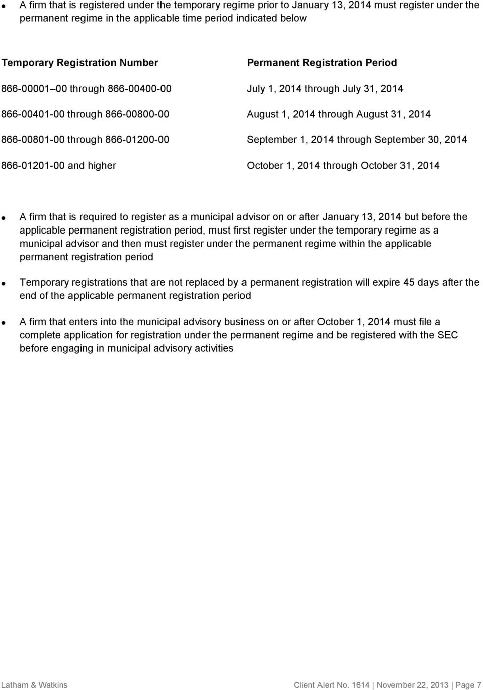 866-01200-00 September 1, 2014 through September 30, 2014 866-01201-00 and higher October 1, 2014 through October 31, 2014 A firm that is required to register as a municipal advisor on or after
