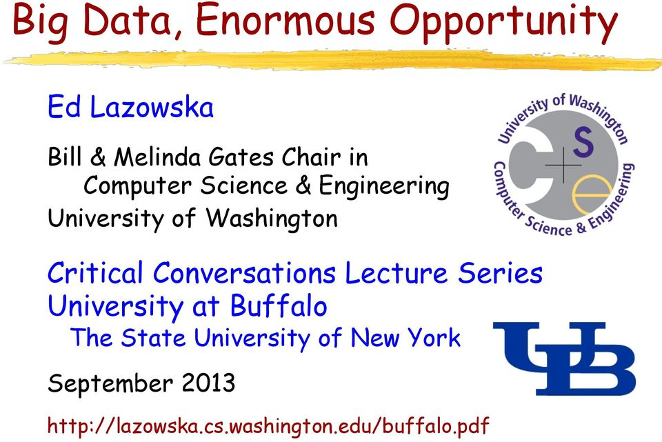 Conversations Lecture Series University at Buffalo The State