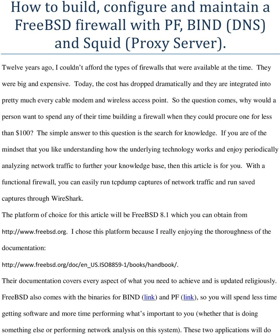 How to build, configure and maintain a FreeBSD firewall with