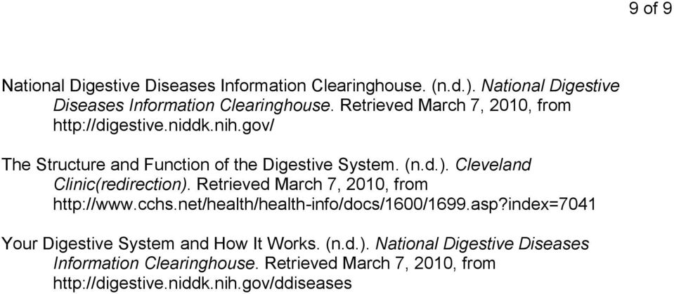 Retrieved March 7, 2010, from http://www.cchs.net/health/health-info/docs/1600/1699.asp?index=7041 Your Digestive System and How It Works.