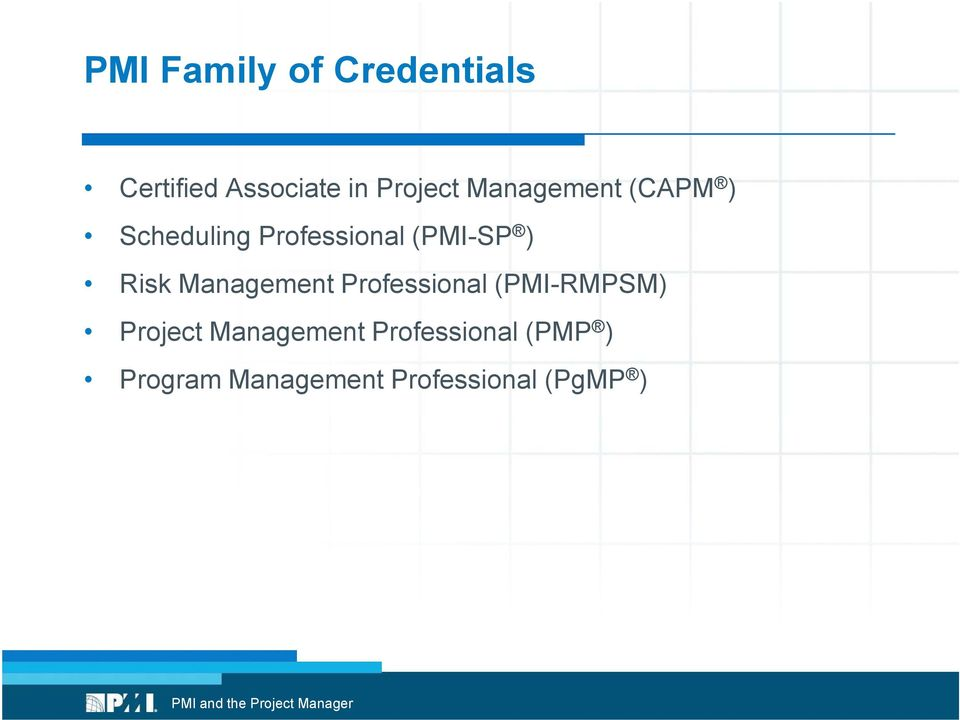 Management Professional (PMI-RMPSM) Project Management