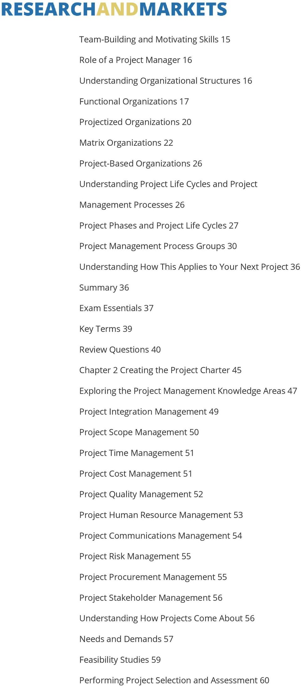 This Applies to Your Next Project 36 Summary 36 Exam Essentials 37 Key Terms 39 Review Questions 40 Chapter 2 Creating the Project Charter 45 Exploring the Project Management Knowledge Areas 47