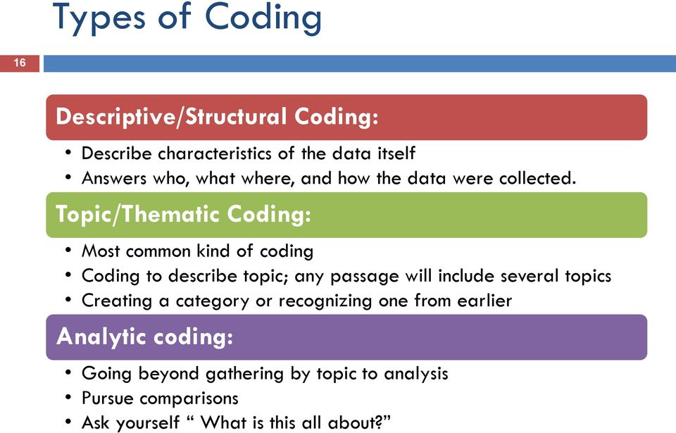 Topic/Thematic Coding: Most common kind of coding Coding to describe topic; any passage will include several