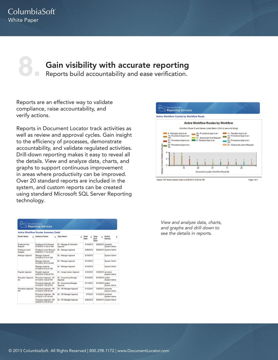 Drill-down reporting makes it easy to reveal all the details. View and analyze data, charts, and graphs to support continuous improvement in areas where productivity can be improved.