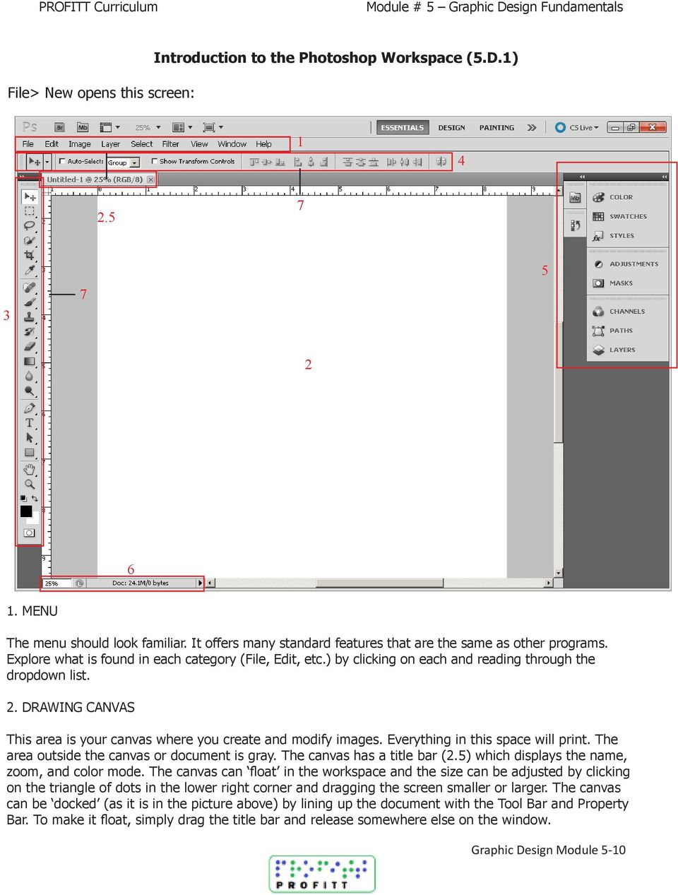 DRAWING CANVAS This area is your canvas where you create and modify images. Everything in this space will print. The area outside the canvas or document is gray. The canvas has a title bar (2.