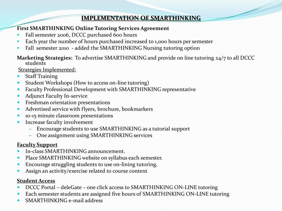 Implemented: Staff Training Student Workshops (How to access on-line tutoring) Faculty Professional Development with SMARTHINKING representative Adjunct Faculty In-service Freshman orientation