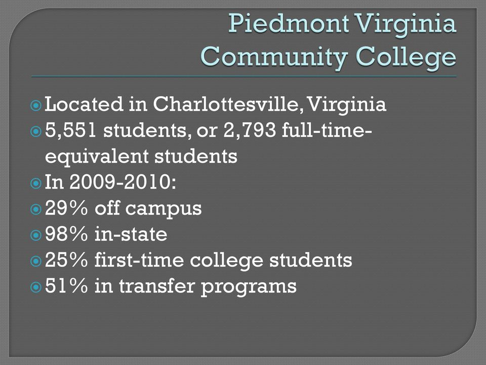 In 2009-2010: 29% off campus 98% in-state 25%