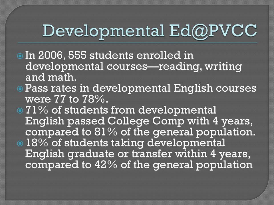 71% of students from developmental English passed College Comp with 4 years, compared to 81% of