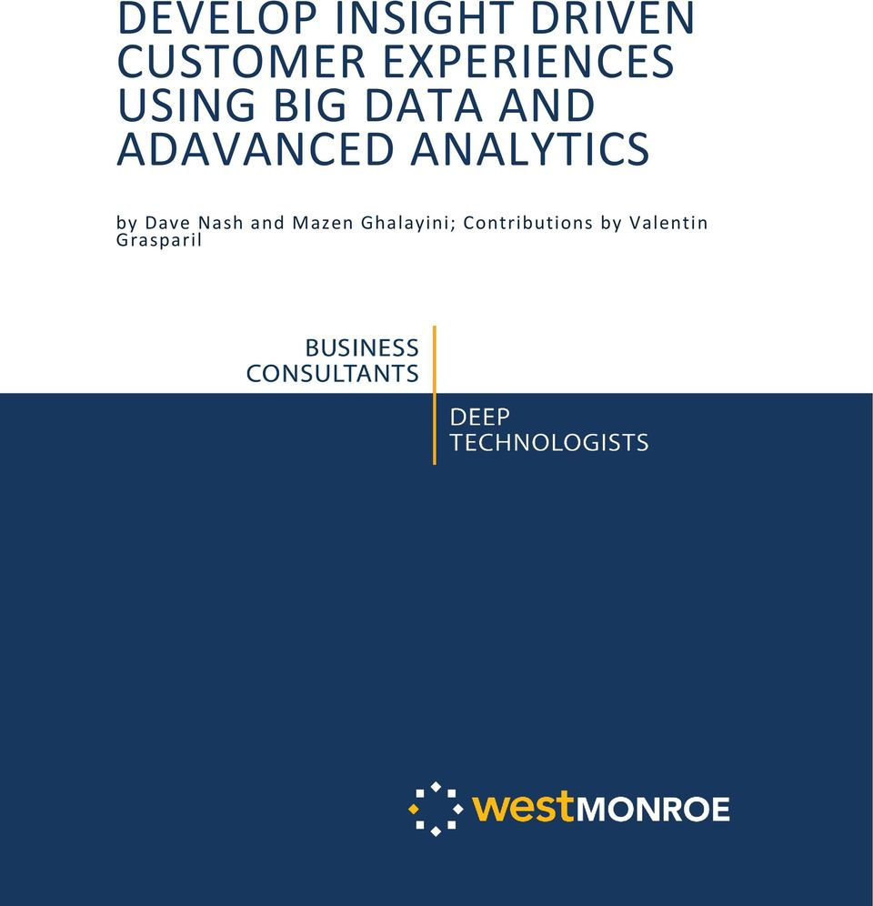 ADAVANCED ANALYTICS by Dave Nash and