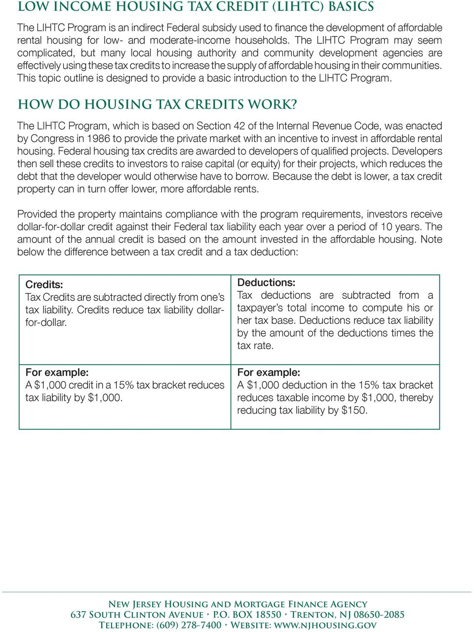 their communities. This topic outline is designed to provide a basic introduction to the LIHTC Program. HOW DO HOUSING TAX CREDITS WORK?