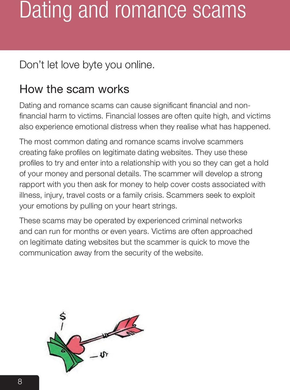 The most common dating and romance scams involve scammers creating fake profiles on legitimate dating websites.