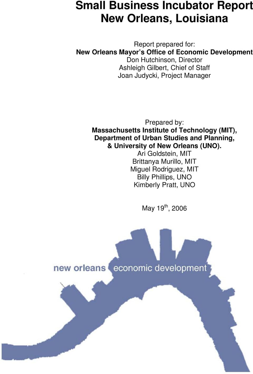 Massachusetts Institute of Technology (MIT), Department of Urban Studies and Planning, & University of New Orleans