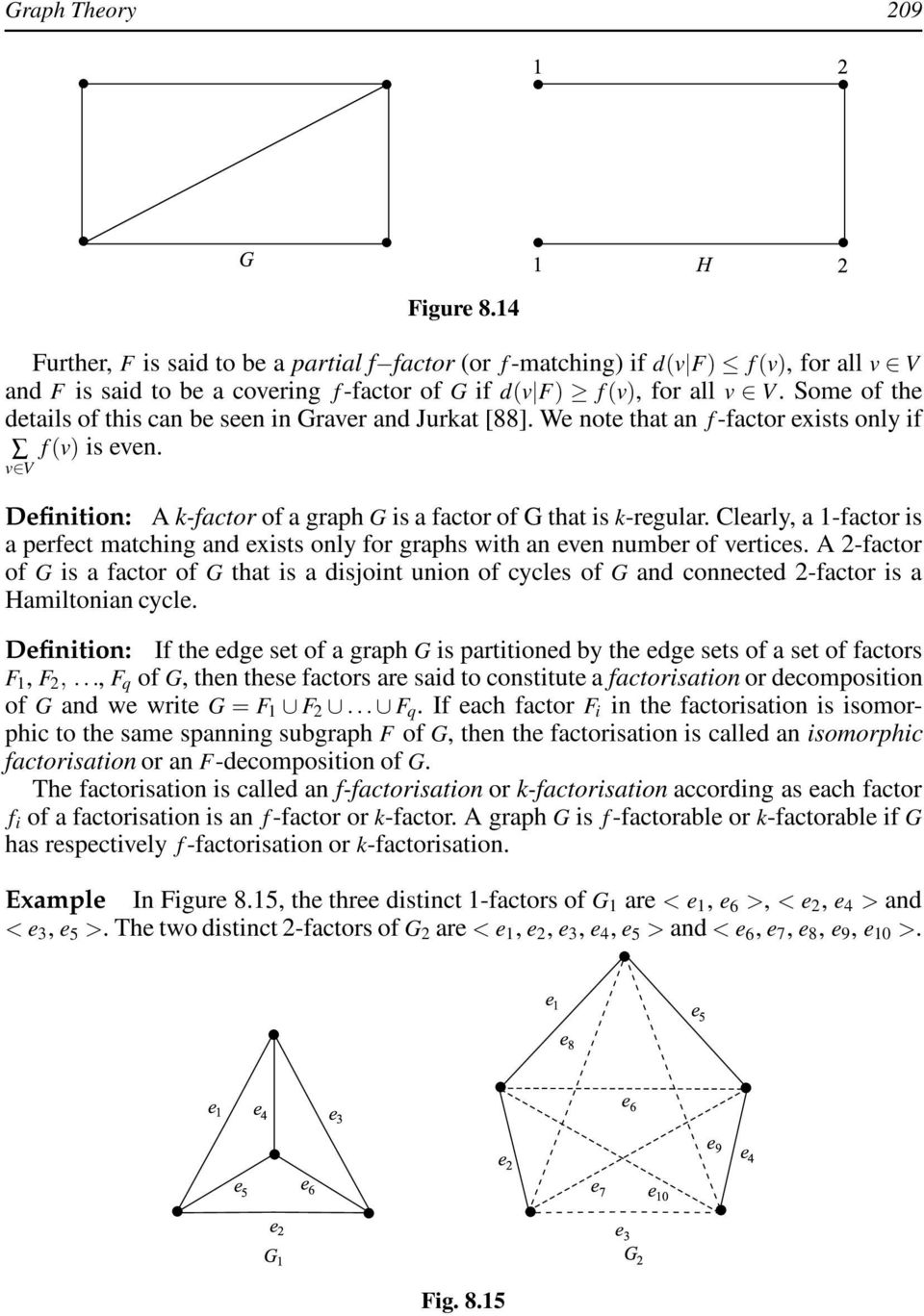 Clearly, a 1-factor is a perfect matching and exists only for graphs with an even number of vertices.