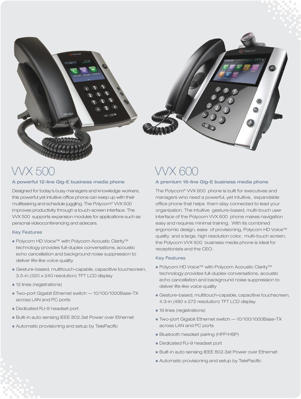 The VVX 500 supports expansion modules for applications such as personal videoconferencing and sidecars. Gesture-based, multitouch-capable, capacitive touchscreen, 3.