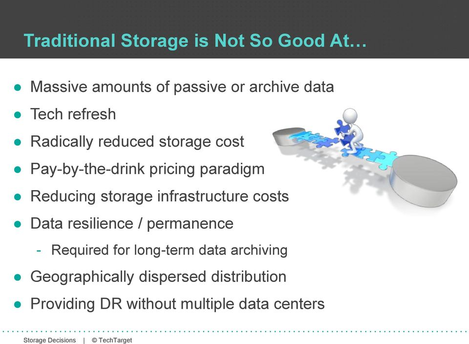 storage infrastructure costs Data resilience / permanence - Required for long-term
