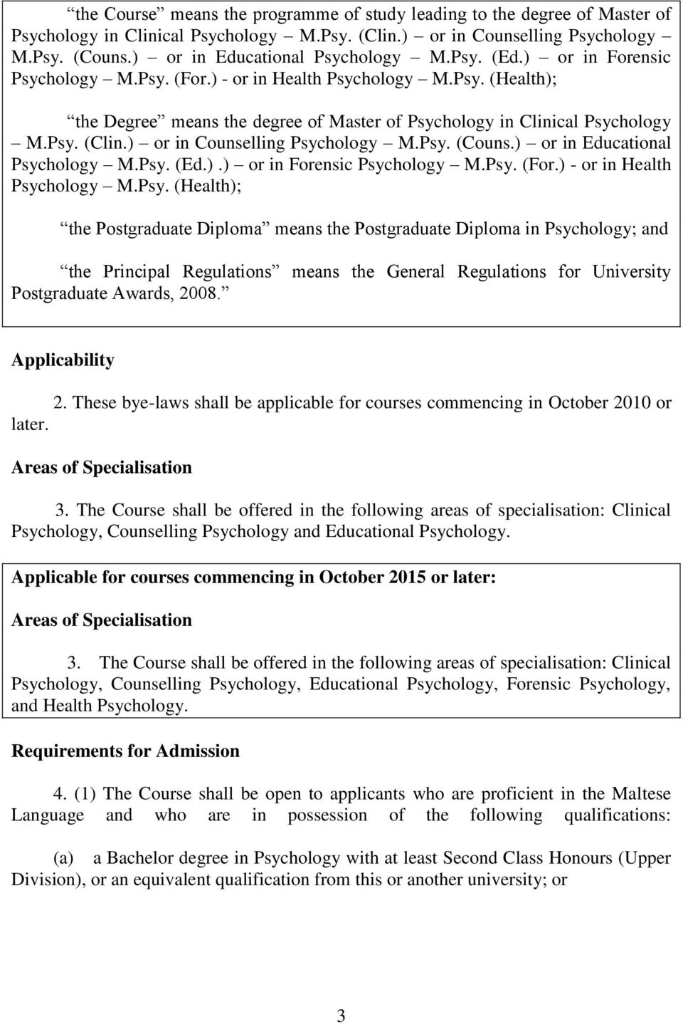 ) or in Counselling Psyc