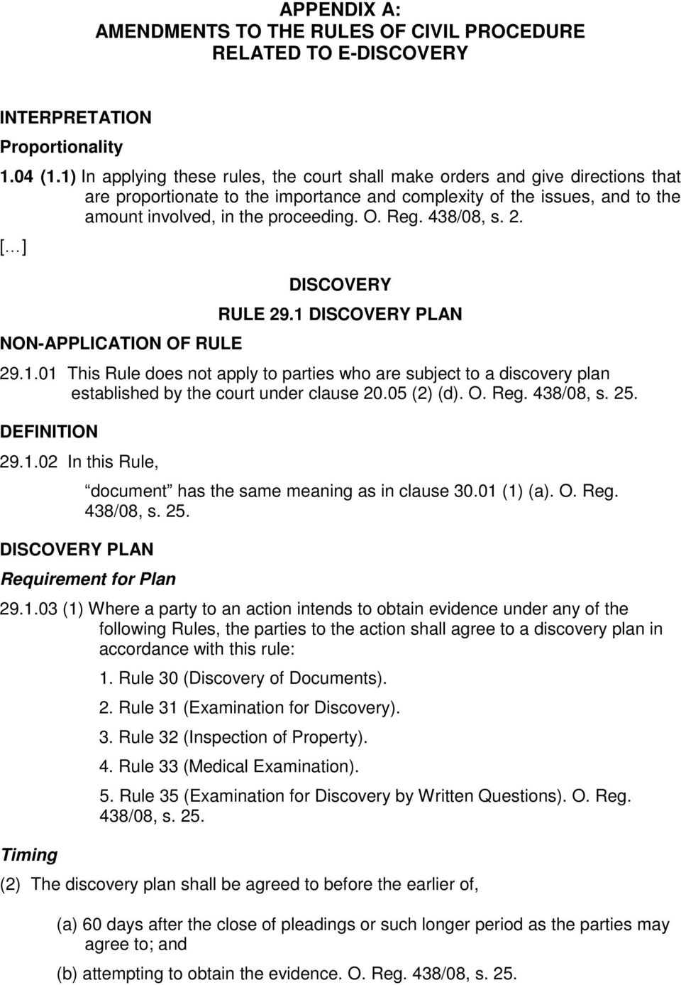 Reg. 438/08, s. 2. [ ] NON-APPLICATION OF RULE DISCOVERY RULE 29.1 DISCOVERY PLAN 29.1.01 This Rule does not apply to parties who are subject to a discovery plan established by the court under clause 20.
