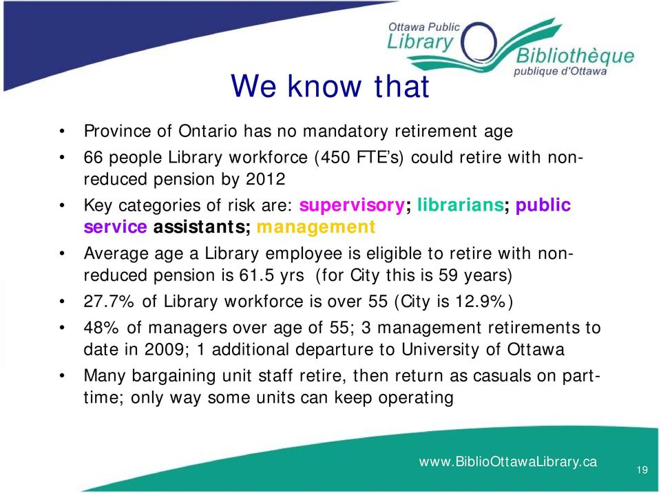 pension is 61.5 yrs (for City this is 59 years) 27.7% of Library workforce is over 55 (City is 12.
