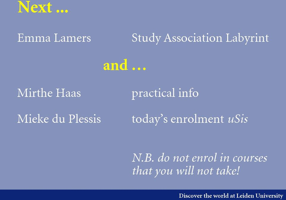 practical info today s enrolment usis N.B.