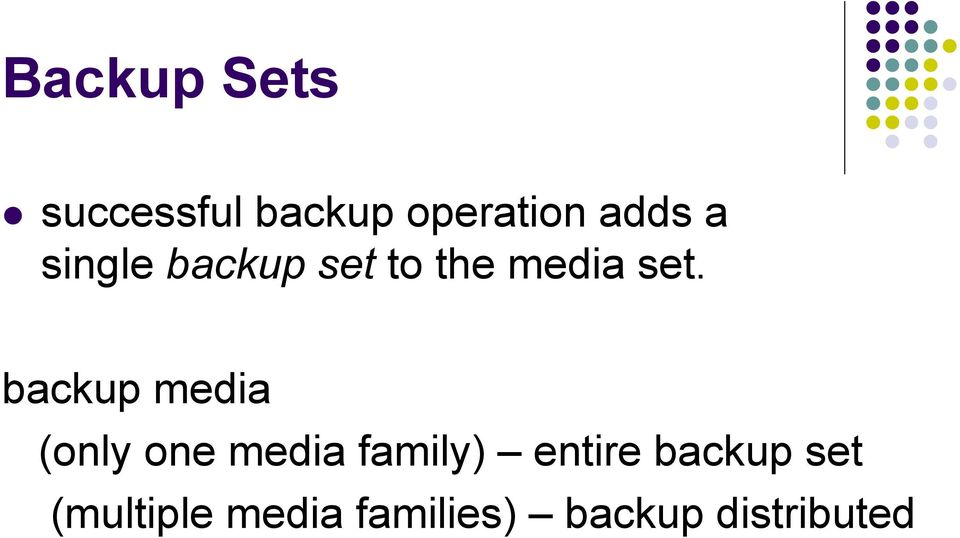 backup media (only one media family) entire