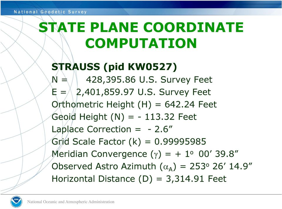 32 Feet Laplace Correction = - 2.6 Grid Scale Factor (k) = 0.