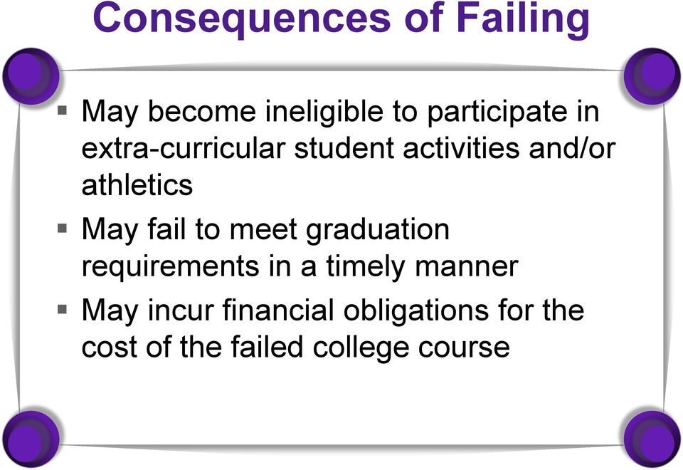 fail to meet graduation requirements in a timely manner May