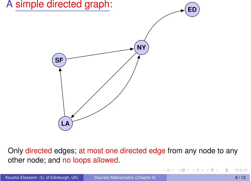 other node; and no loops allowed. Kousha Etessami (U.