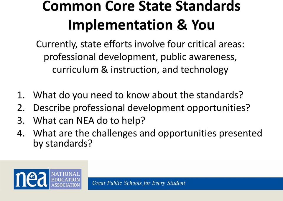 What do you need to know about the standards? 2. Describe professional development opportunities?