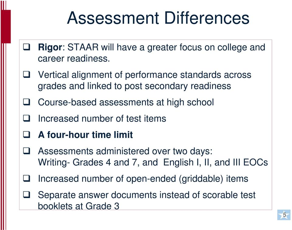 high school Increased number of test items A four-hour time limit Assessments administered over two days: Writing- Grades 4