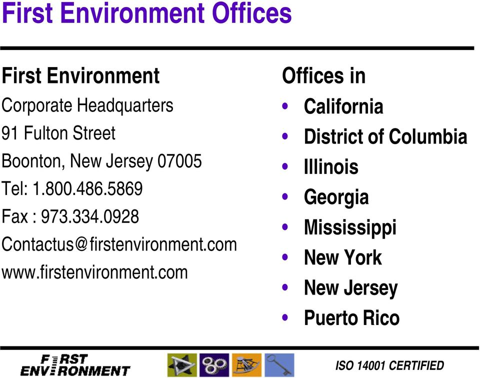 0928 Contactus@firstenvironment.