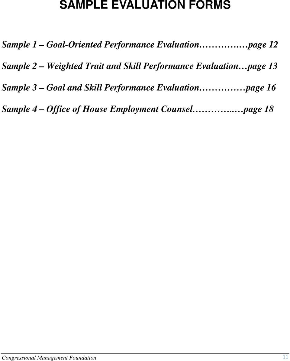 Sample 3 Goal and Skill Performance Evaluation page 16 Sample 4 Office