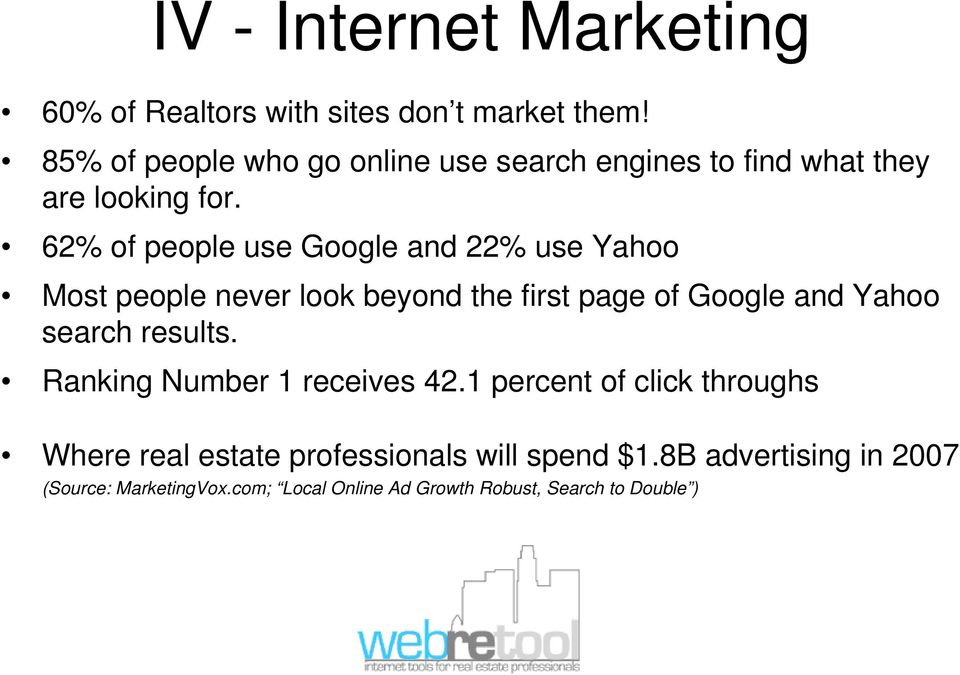 62% of people use Google and 22% use Yahoo Most people never look beyond the first page of Google and Yahoo search