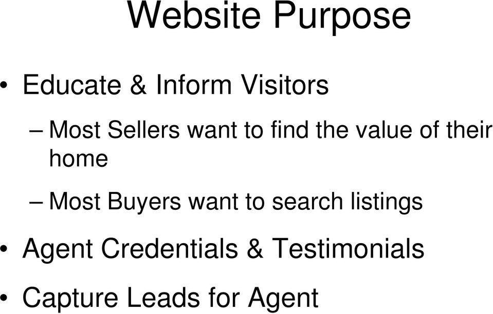 home Most Buyers want to search listings
