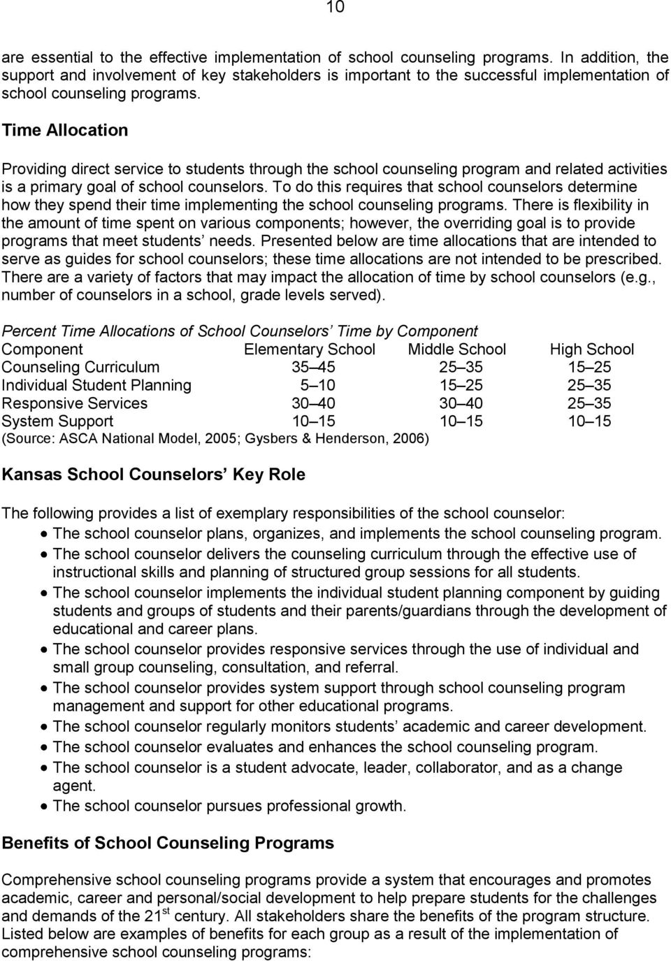 Time Allocation Providing direct service to students through the school counseling program and related activities is a primary goal of school counselors.