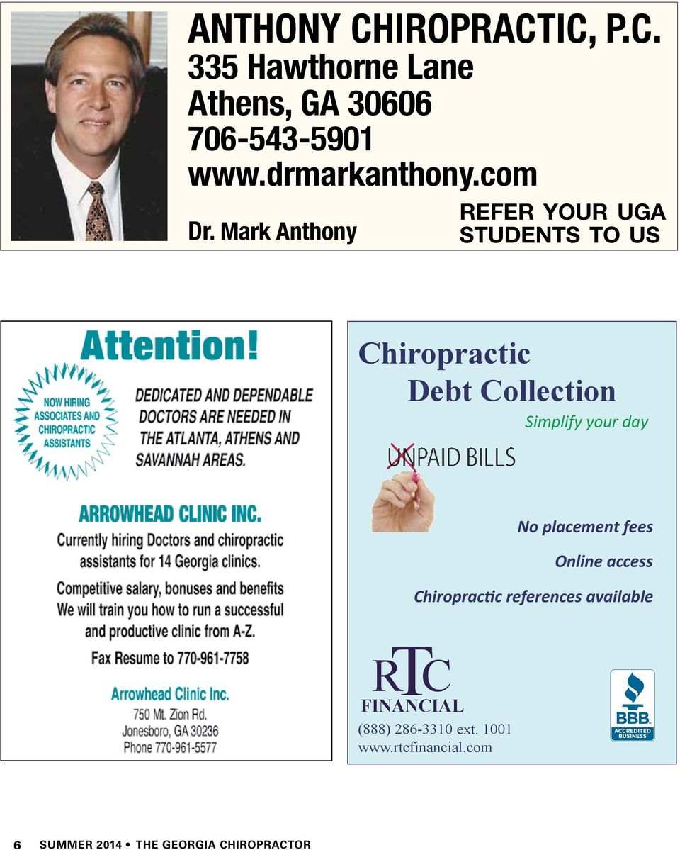 Mark Anthony refer your uga students to us Chiropractic Debt Collection Simplify your