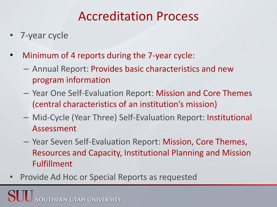 s mission) Mid-Cycle (Year Three) Self-Evaluation Report: Institutional Assessment Year Seven Self-Evaluation Report: Mission,