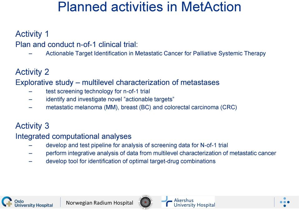 metastatic melanoma (MM), breast (BC) and colorectal carcinoma (CRC) Activity 3 Integrated computational analyses develop and test pipeline for analysis of screening