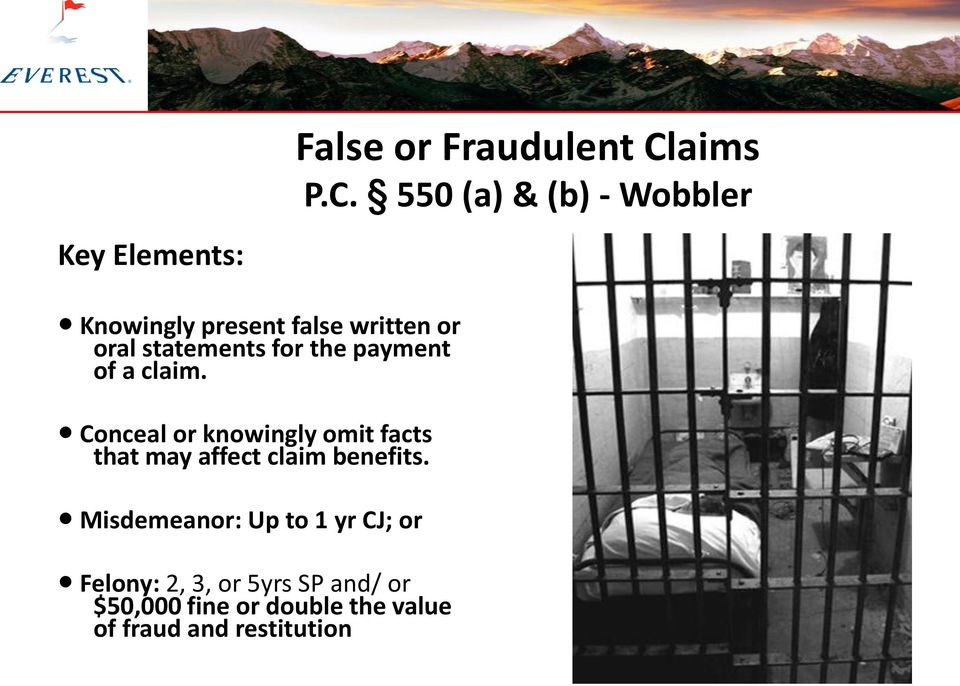 550 (a) & (b) - Wobbler Knowingly present false written or oral statements for the
