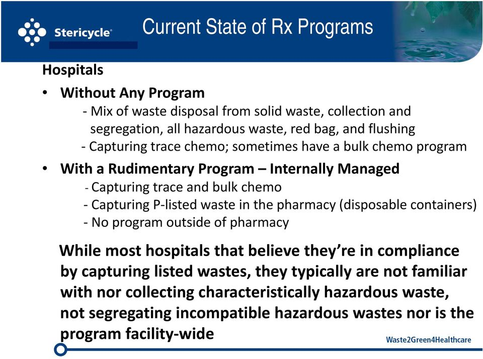 listed waste in the pharmacy (disposable containers) No program outside of pharmacy While most hospitals that believe they re in compliance by capturing listed