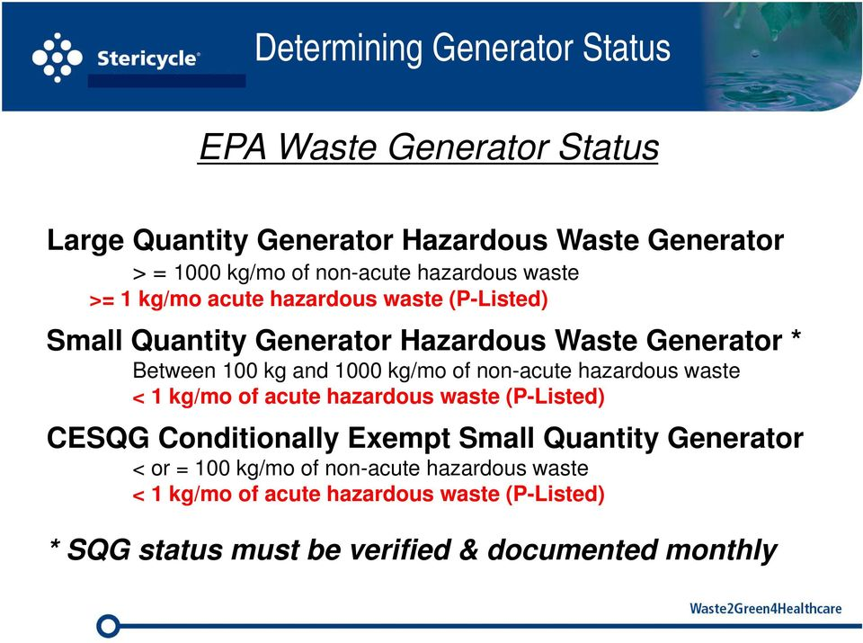 kg/mo of non-acute hazardous waste < 1 kg/mo of acute hazardous waste (P-Listed) CESQG Conditionally Exempt Small Quantity Generator <