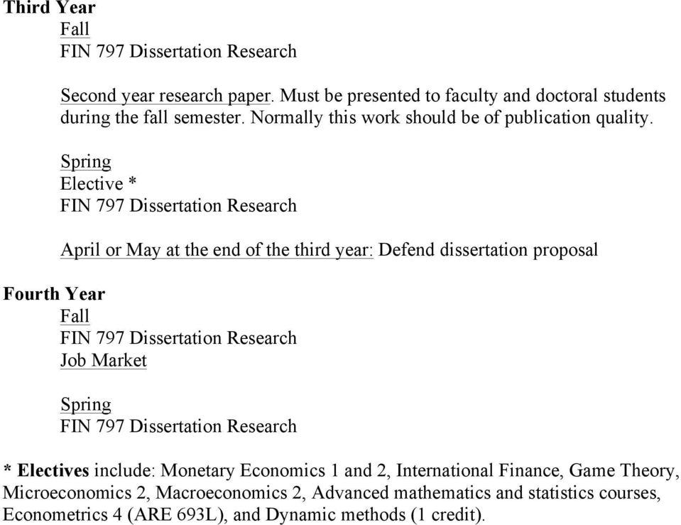 Spring Elective * FIN 797 Dissertation Research April or May at the end of the third year: Defend dissertation proposal Fourth Year Fall FIN 797 Dissertation