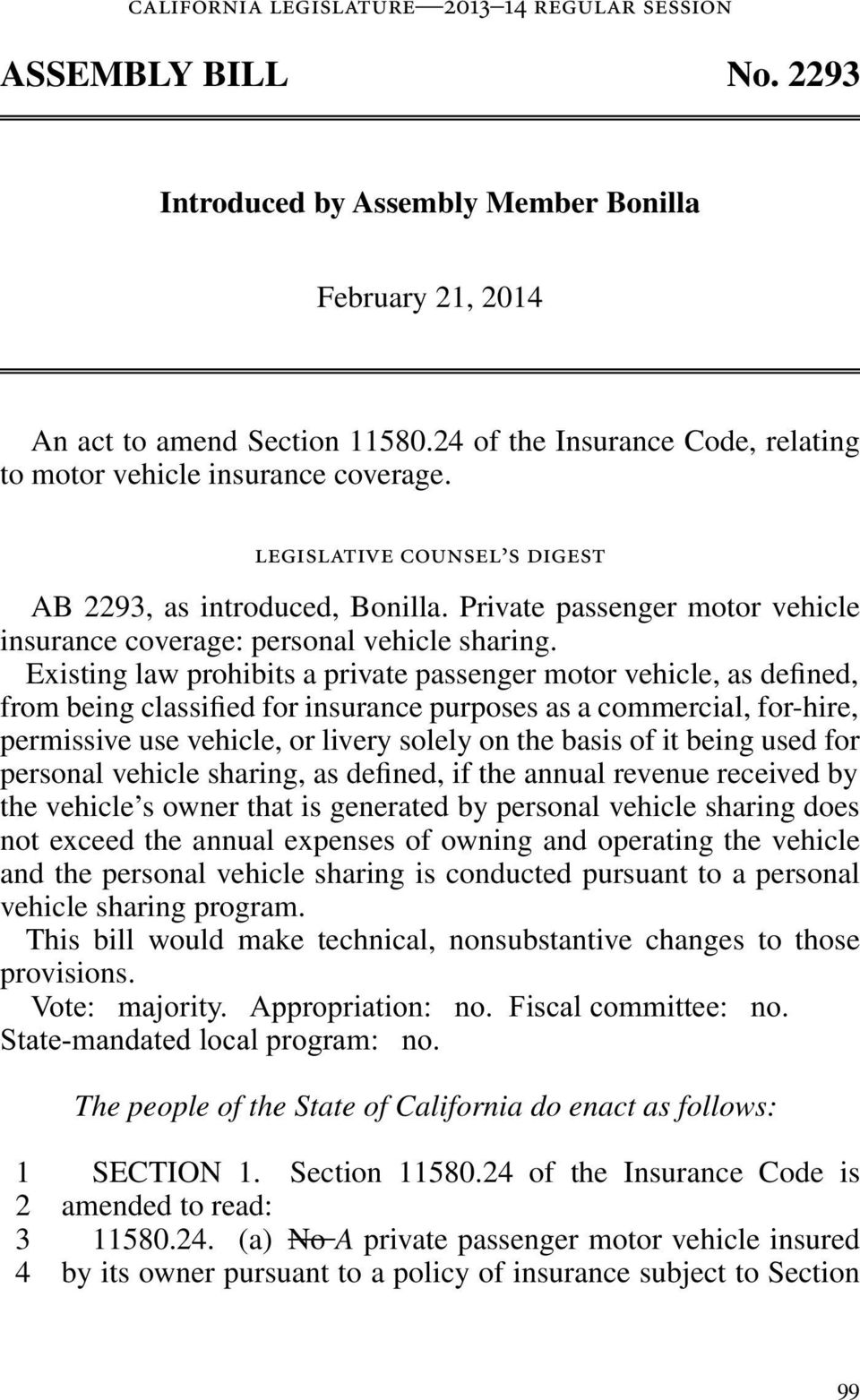Private passenger motor vehicle insurance coverage: personal vehicle sharing.