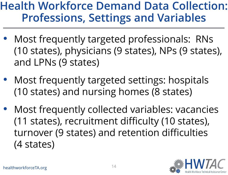 targeted settings: hospitals (10 states) and nursing homes (8 states) Most frequently collected variables: