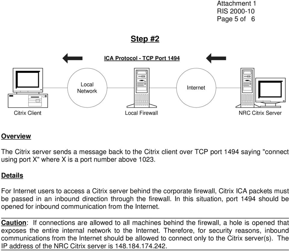 Details For Internet users to access a Citrix server behind the corporate firewall, Citrix ICA packets must be passed in an inbound direction through the firewall.
