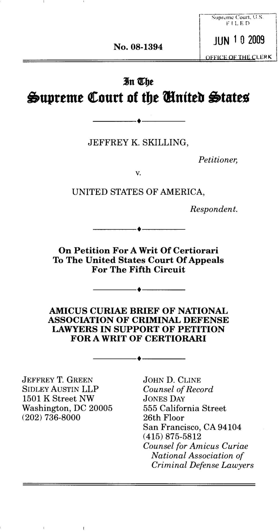On Petition For A Writ Of Certiorari To The United States Court Of Appeals For The Fifth Circuit AMICUS CURIAE BRIEF OF NATIONAL ASSOCIATION OF CRIMINAL DEFENSE LAWYERS