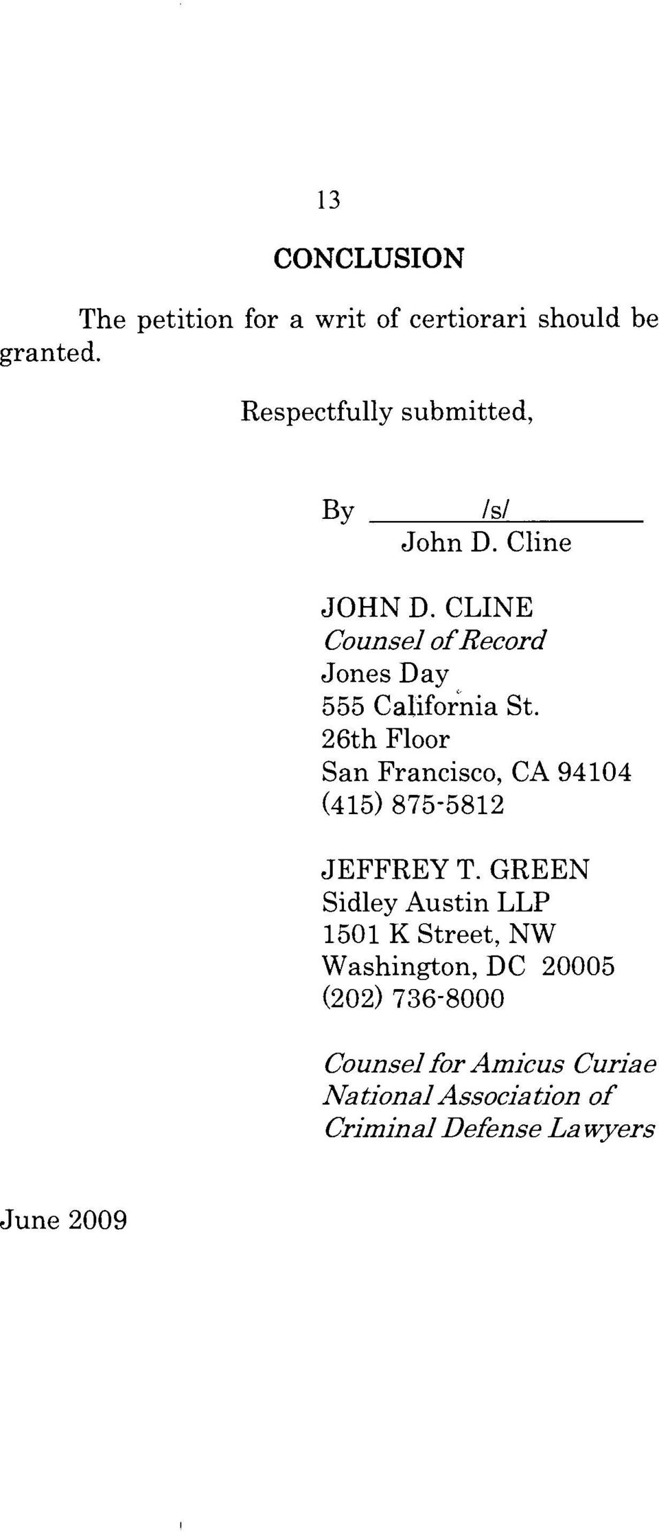 CLINE Counsel of Record Jones Day 555 Cafifo~:nia St.